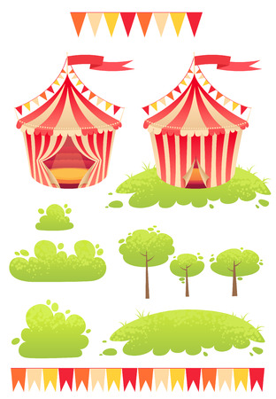 Cute cartoon vector tent show circus with set of banners and stripes Illustration