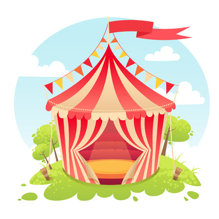 circus vector: Cute cartoon vector tent show circus with set of banners and stripes Illustration