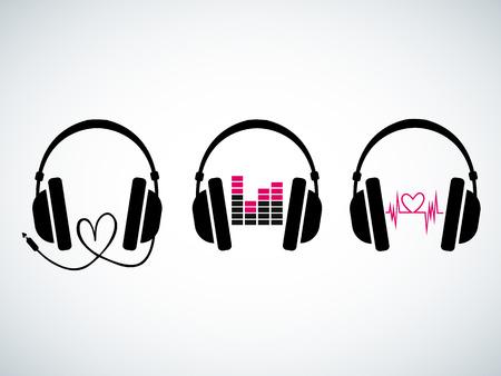 audifonos: Auriculares de la música creativa establecidos con los latidos del corazón y el ecualizador