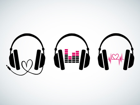headphones icon: Creative music headphones set with heartbeat and equalizer