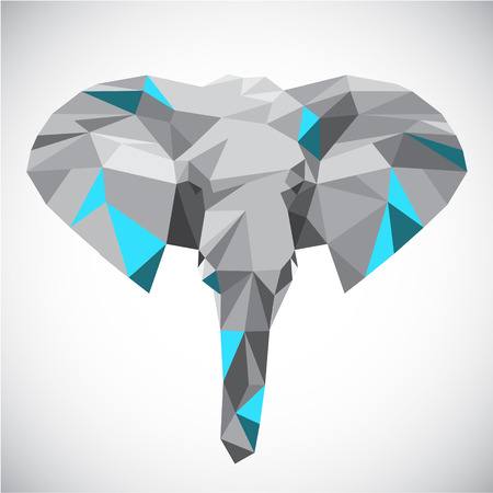 Low polygonal elephant head in popular style made of triangle shapes Illustration