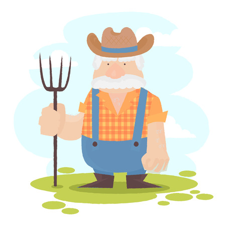 A funny farmer cartoon character male holding a pitchfork Vector