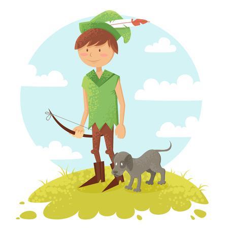 Leuke cartoon robin hood jongen karakter met pijl en hond het dragen van een hoed met veer Stock Illustratie