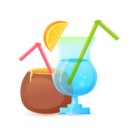 Fresh summer cocktail in glass and coconut with straws isolated on white Vector
