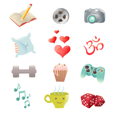 Set of hobby icons showing pastime activities - reading, sports, movies, sleep, food