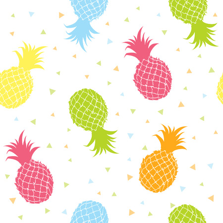 Fresh pineapples colorful seamless texture pattern