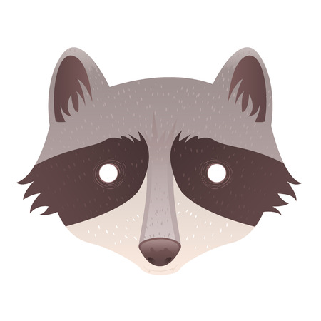 Cute cartoon raccoon with mask head isolated sticker Vector