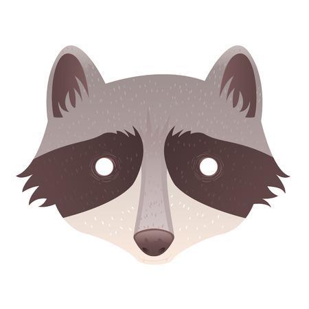 Cute cartoon raccoon with mask head isolated sticker Vector