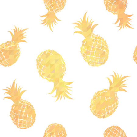 Stylish geometric seamless pattern with pineapples Vector