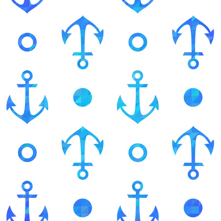Stylish geometric seamless nautical pattern with anchors silhouettes Vector
