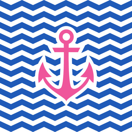zigzag: Simple geometric nautical card with anchor on zigzag background for invitation