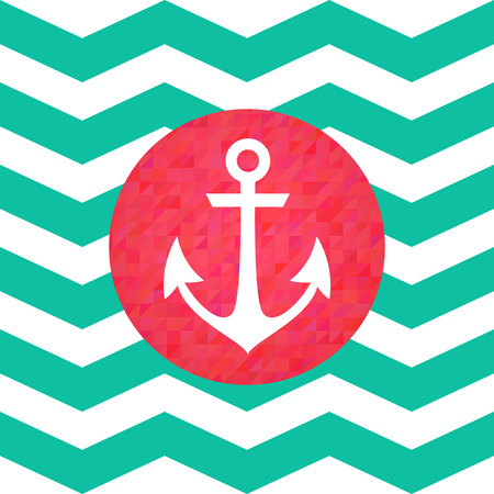 Simple geometric nautical card with anchor on zigzag background for invitation Vector