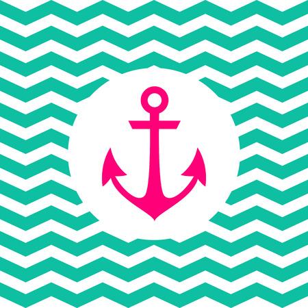 Eenvoudige geometrische nautische kaart met anker op zigzag achtergrond voor uitnodiging