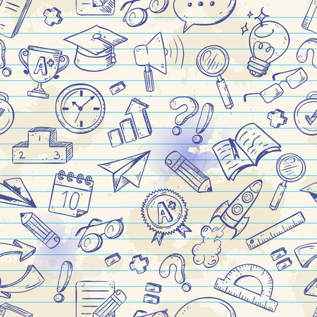 Back to school seamless pattern on a exercise book sheet grid background