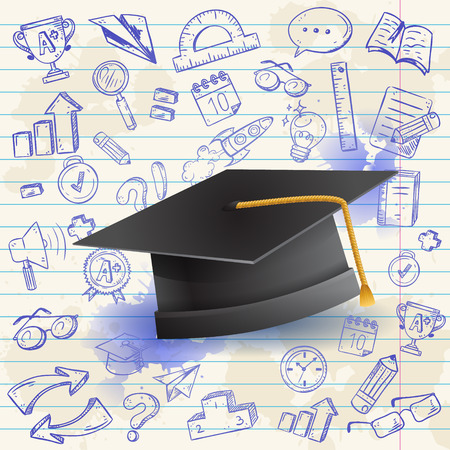 graduation hat: Back to school celebration card with graduation hat and a set of hand-drawn doodle school study items Illustration