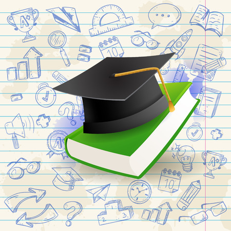 sketch book: Back to school celebration card with graduation hat and a set of hand-drawn doodle school study items Illustration
