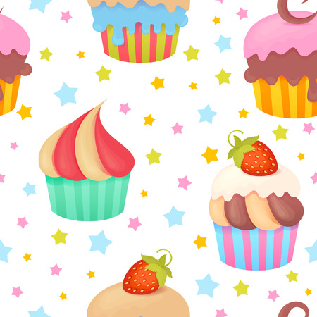 Cute colorful seamless pattern with delicious muffins and cupcakes Vector