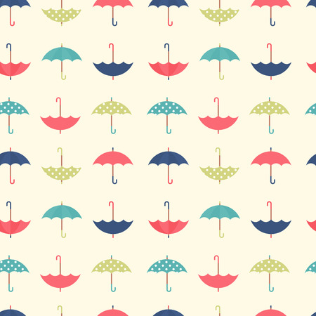 Cute autumn seamless pattern with a set of textured flat umbrellas Иллюстрация