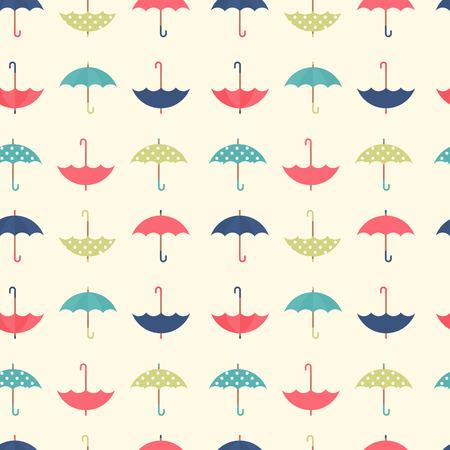 Leuke herfst naadloze patroon met een set van getextureerde platte paraplu's