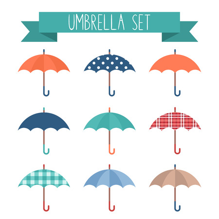 umbrella rain: Set of cute flat style autumn umbrellas with various patterns and textures Illustration