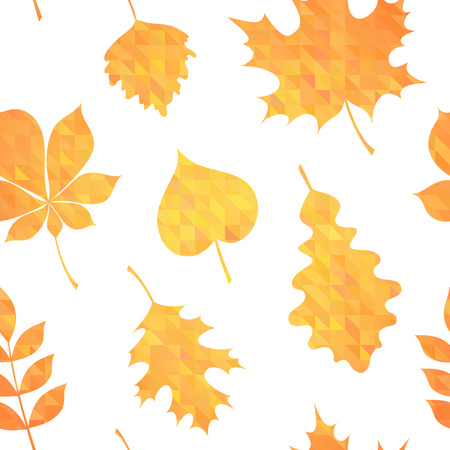 Autumn leaves silhouettes colorful seamless pattern on geometric triangle background Vector