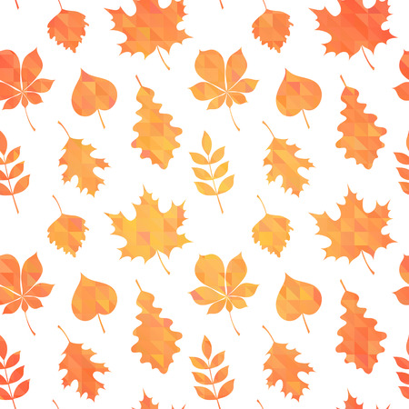 birch leaf: Autumn leaves silhouettes colorful seamless pattern on geometric triangle background