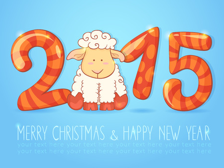 Cute winter chinese new year card with cute cartoon sheep and 2015 figures Vector