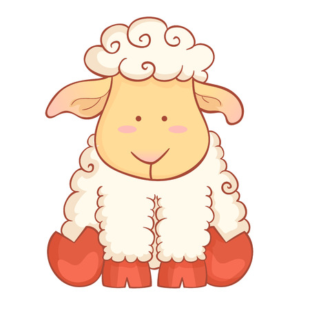 Cute cartoon baby sheep character of chinese new year symbol isolated on white background
