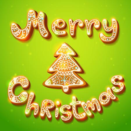 season greetings: Joyeux No�l signe de texte de pain d'�pice et la saison de l'arbre salutations de carte postale brillant Illustration