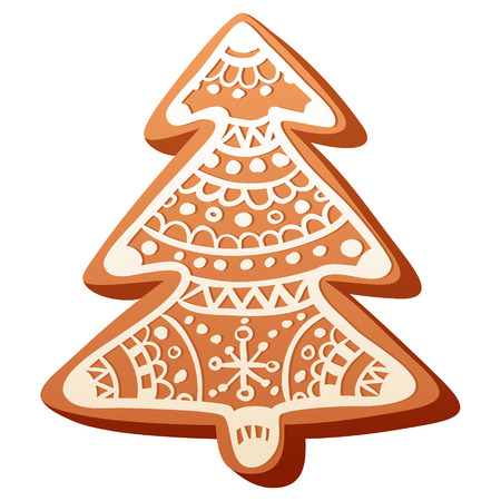 christmas cookie: Cute handmade christmas gingerbread baked cookie isolated on white background Illustration