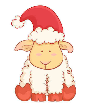 Cute cartoon baby sheep wearing santa hat character of chinese new year symbol isolated on white background Vector