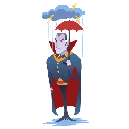 vlad: Funny cartoon Dracula vampire character standing under the rain with umbrella Illustration