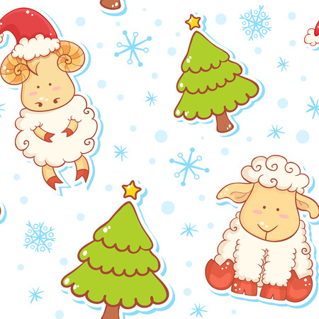 Festive new year winter seamless pattern with cute cartoon sheep characters on snowflakes background Vector
