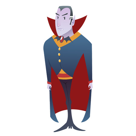 vlad: Funny cartoon Dracula vampire character standing with serious and creepy look