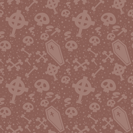 coffins: Creepy cartoon Halloween seamless texture with tomb stones, sculls and coffins Illustration