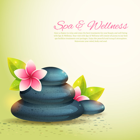 spa stones: spa cards with realistic wellness items, pebbles and exotic flowers isolated Illustration