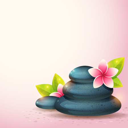 ser humano: Tarjeta pacífica y relajante, con artículos de spa, flores exóticas y piedras de guijarros aislados