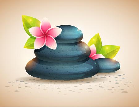스파 항목, 이국적인 꽃과 조약돌 돌 절연 평화 롭고 편안한 카드 일러스트