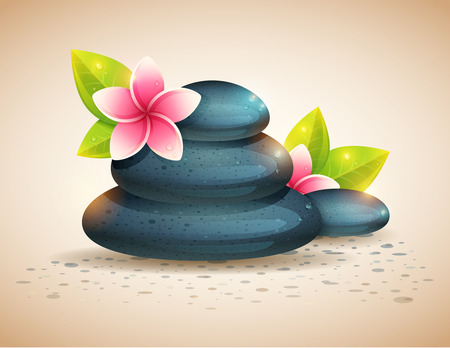 meditation stones: Peaceful and relaxing card with spa items, exotic flowers and pebble stones isolated