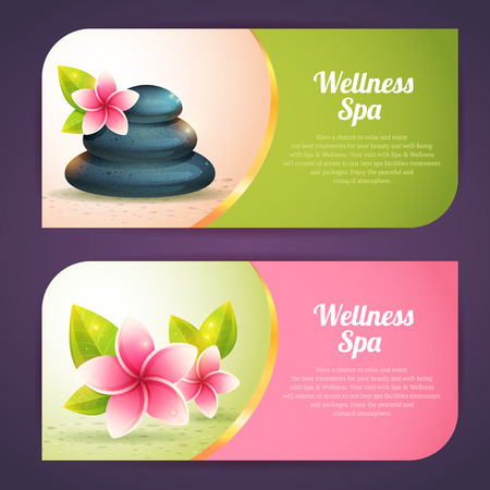 Set of thematical spa cards with realistic wellness items, pebbles and exotic flowes isolated Illustration