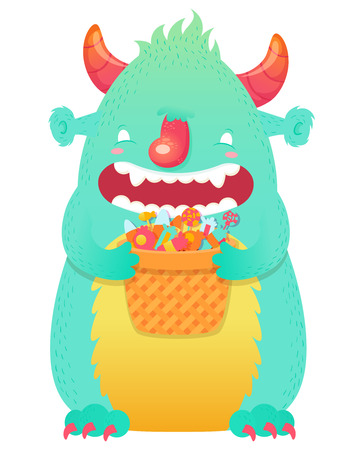Funny smiling Halloween fluffy monster character with a basket of candies for trick or treat Vector