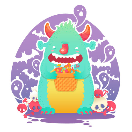 Funny smiling Halloween fluffy monster character with a basket of candies for trick or treat