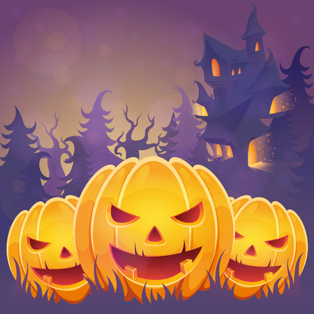 Creepy dark Halloween invitation card with scary pumpkin smiling faces and a haunted house on the background