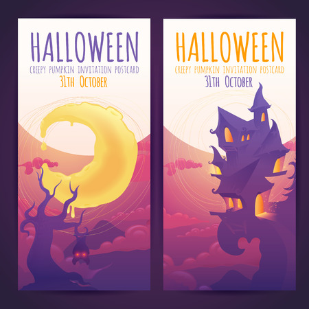 house party: Set of Halloween banners with spooky haunted house and moon elements and invitation text