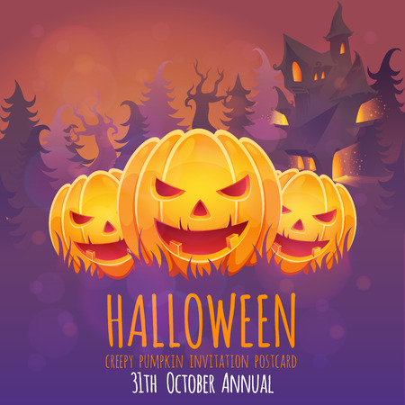 scary pumpkin: Creepy dark Halloween invitation card with scary pumpkin smiling faces and a haunted house on the background