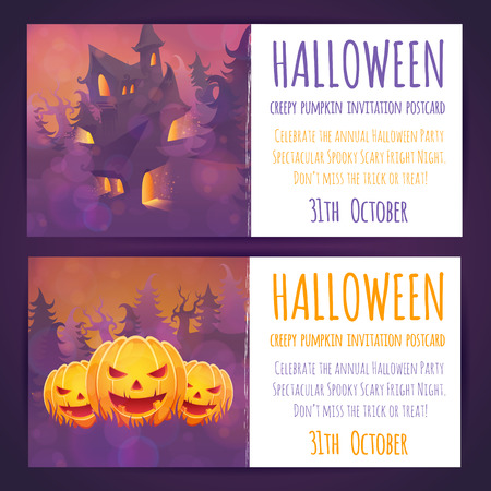 Set of Halloween banners with spooky haunted house and moon elements and invitation text Vector