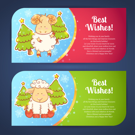 Cute winter chinese new year card with cute cartoon sheep and 2015 figures Vectores