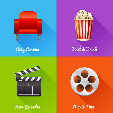 cinematograph: Cinematography set of square movie banners with film reel, clapper, popcorn, 3D glasses, cinema armchair isolated icons