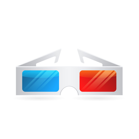 3D glasses: Realistic paper cinema 3D glasses icon isolated on white background for stereo dimesional movie illustration