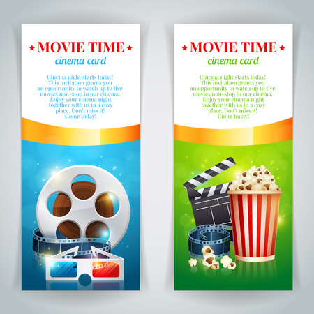 Realistic cinema movie poster template with film reel, clapper, popcorn, 3D glasses, conceptbanners with bokeh Vector